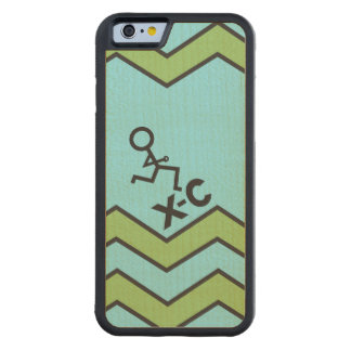 XC Cross Country Runner Chevron Pattern Carved® Maple iPhone 6 Bumper