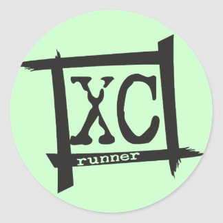 XC Cross Country Runner Classic Round Sticker