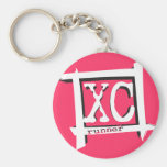 XC Cross Country Runner Basic Round Button Keychain