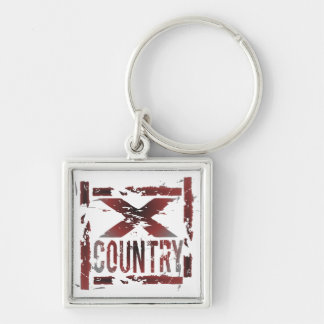XC Cross Country Runner Silver-Colored Square Keychain