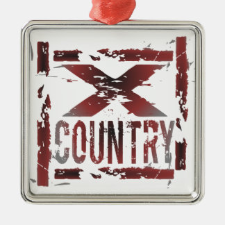 XC Cross Country Runner Square Metal Christmas Ornament