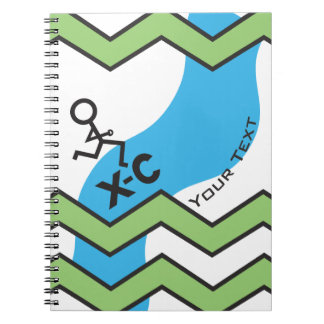 XC Cross Country Running Chevron Pattern Spiral Notebook