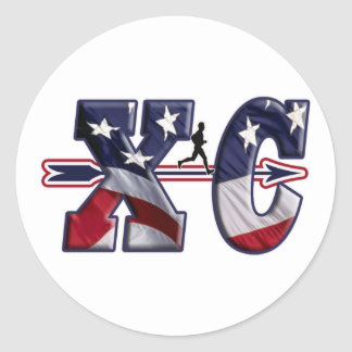 XC CROSS COUNTRY USA FLAG WRAPPED CLASSIC ROUND STICKER