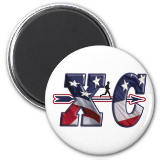 XC CROSS COUNTRY USA FLAG WRAPPED MAGNET