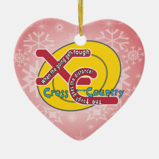 XC TOUGH MOTTO - CROSS COUNTRY Double-Sided HEART CERAMIC CHRISTMAS ORNAMENT
