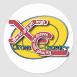 XC TOUGH MOTTO - CROSS COUNTRY ROUND STICKERS