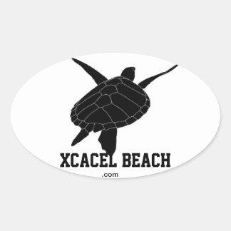Xcacel Beach Oval Turtle Bumper Sticker