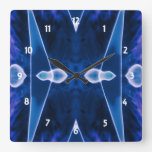 Xed Out Deep Blue Square Wallclocks