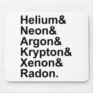 Xenón de neón del radón del criptón del argón del tapetes de raton