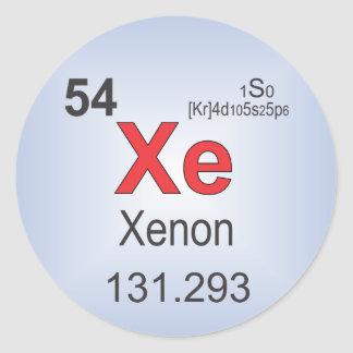 Xenon Individual Element of the Periodic Table Classic Round Sticker