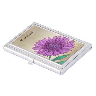 Xeranthemum Flower Alphabet Monogram Business Card Holders