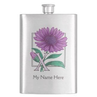 Xeranthemum Flower Alphabet Monogram Flasks