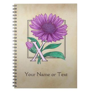 Xeranthemum Flower Alphabet Monogram Notebooks