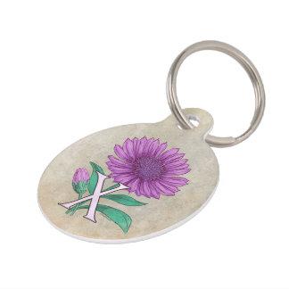 Xeranthemum Flower Alphabet Monogram Pet ID Tags