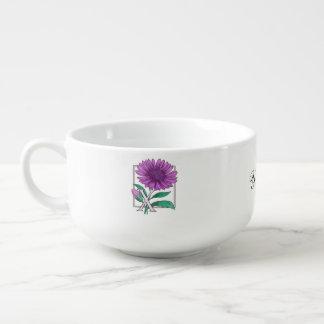 Xeranthemum Flower Alphabet Monogram Soup Mug