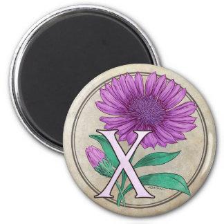 Xeranthemum Flower Monogram 2 Inch Round Magnet