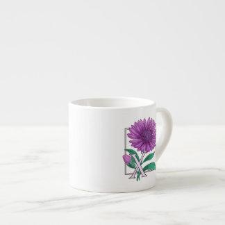 Xeranthemum Flower Monogram Artwork 6 Oz Ceramic Espresso Cup