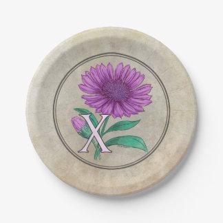 Xeranthemum Flower Monogram Artwork 7 Inch Paper Plate