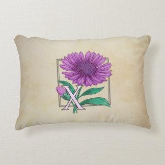 Xeranthemum Flower Monogram Artwork Accent Pillow