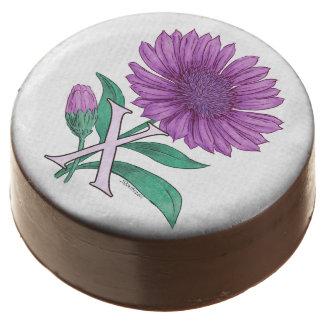 Xeranthemum Flower Monogram Artwork Chocolate Dipped Oreo