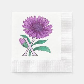 Xeranthemum Flower Monogram Artwork Coined Cocktail Napkin