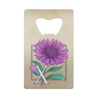 Xeranthemum Flower Monogram Artwork Credit Card Bottle Opener