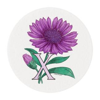 Xeranthemum Flower Monogram Artwork Edible Frosting Rounds