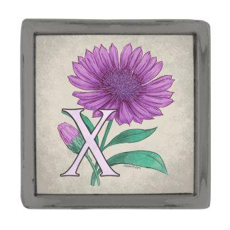 Xeranthemum Flower Monogram Artwork Gunmetal Finish Lapel Pin