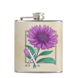 Xeranthemum Flower Monogram Artwork Hip Flasks