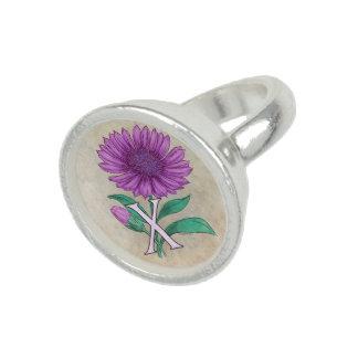 Xeranthemum Flower Monogram Artwork Photo Rings