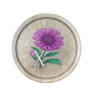 Xeranthemum Flower Monogram Artwork Porcelain Plates