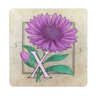 Xeranthemum Flower Monogram Artwork Puzzle Coaster