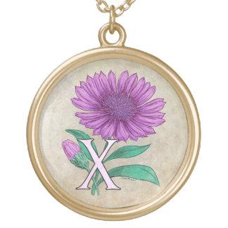 Xeranthemum Flower Monogram Artwork Round Pendant Necklace