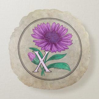 Xeranthemum Flower Monogram Artwork Round Pillow
