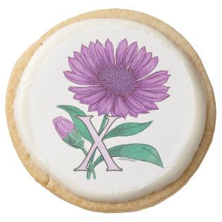 Xeranthemum Flower Monogram Artwork Round Premium Shortbread Cookie