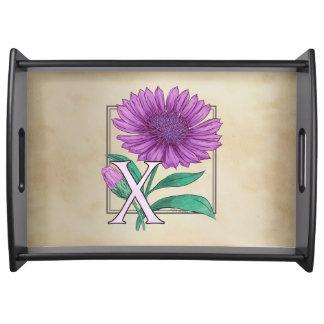 Xeranthemum Flower Monogram Artwork Serving Platters