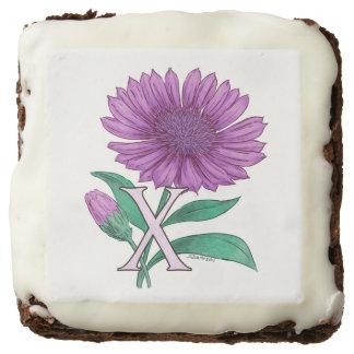 Xeranthemum Flower Monogram Artwork Square Brownie