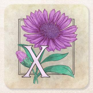 Xeranthemum Flower Monogram Artwork Square Paper Coaster
