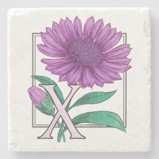Xeranthemum Flower Monogram Artwork Stone Beverage Coaster