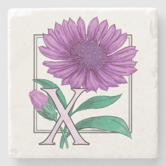 Xeranthemum Flower Monogram Artwork Stone Coaster