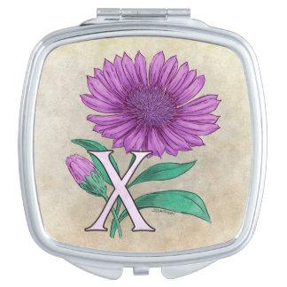 Xeranthemum Flower Monogram Artwork Travel Mirror