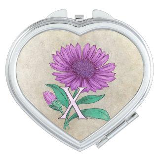 Xeranthemum Flower Monogram Artwork Travel Mirrors