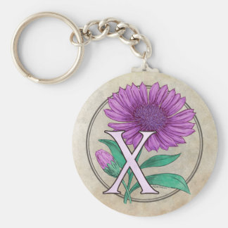 Xeranthemum Flower Monogram Basic Round Button Keychain