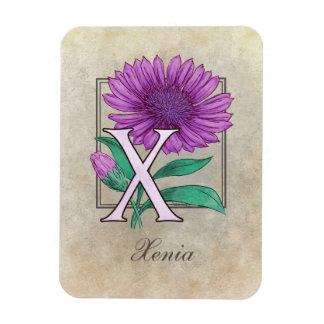 Xeranthemum Flower Monogram Rectangular Photo Magnet