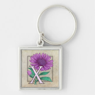 Xeranthemum Flower Monogram Silver-Colored Square Keychain