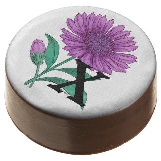 Xeranthemum Personalized Flower Monogram Chocolate Covered Oreo