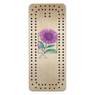 Xeranthemum Personalized Flower Monogram Maple Cribbage Board