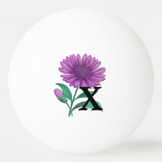 Xeranthemum Personalized Flower Monogram Ping-Pong Ball