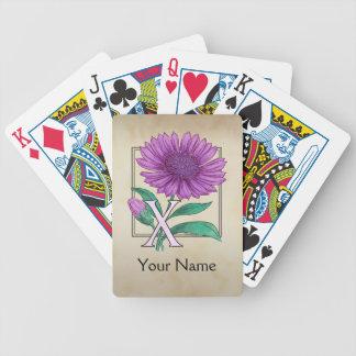 Xeranthemum Personalized Flower Monogram Bicycle Playing Cards