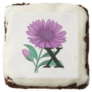 Xeranthemum Personalized Flower Monogram Square Brownie